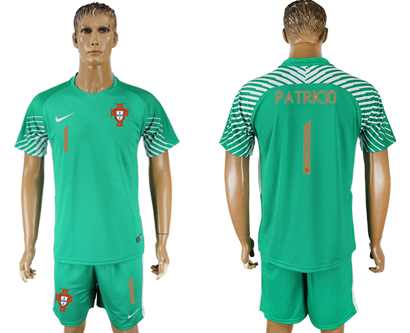 Men 2018 World Cup Portugal green goalkeeper 1 soccer jersey