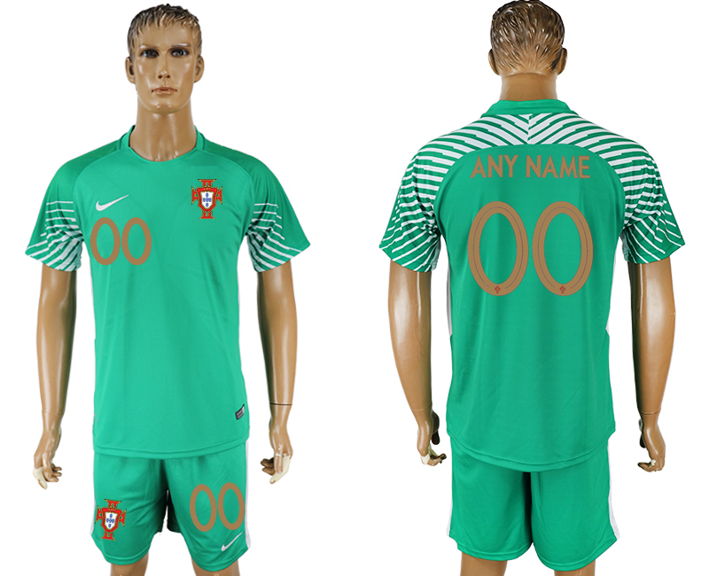 Men 2018 World Cup Portugal green goalkeeper customized soccer jersey