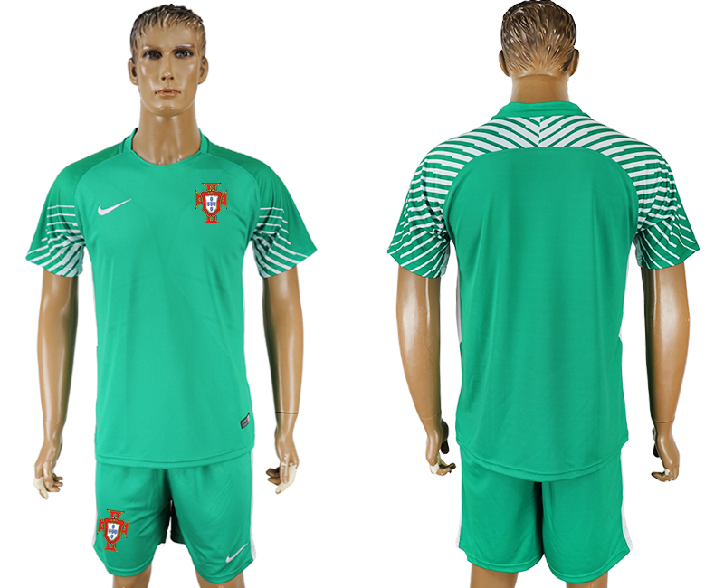 Men 2018 World Cup Portugal green goalkeeper soccer jersey
