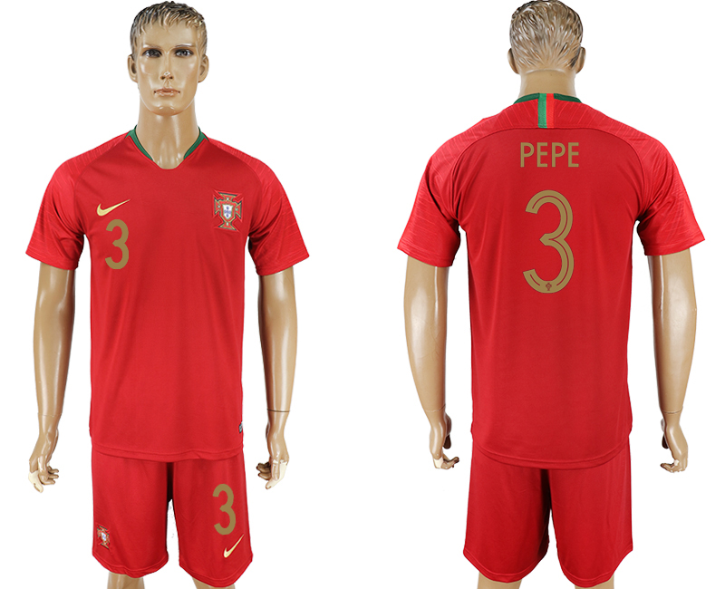 Men 2018 World Cup Portugal home 3 red soccer jersey