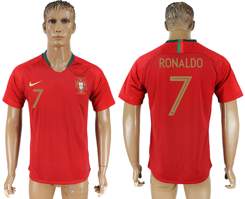 Men 2018 World Cup Portugal home aaa version 7 red soccer jersey