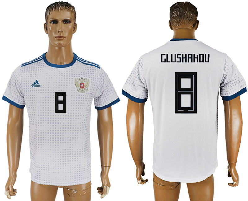 Men 2018 World Cup Russia away aaa version 8 white soccer jersey