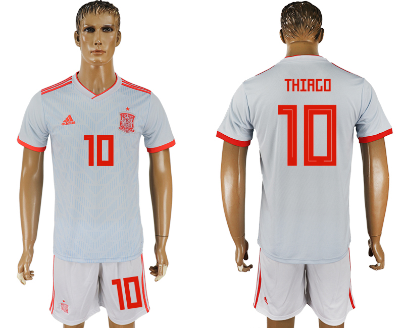 Men 2018 World Cup Spain away 10 white soccer jersey