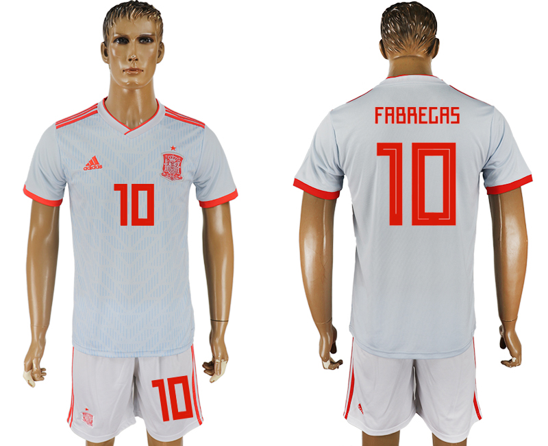 Men 2018 World Cup Spain away 10 white soccer jersey1