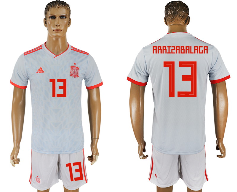 Men 2018 World Cup Spain away 13 white soccer jersey