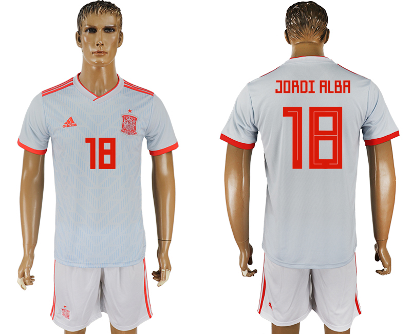 Men 2018 World Cup Spain away 18 white soccer jersey