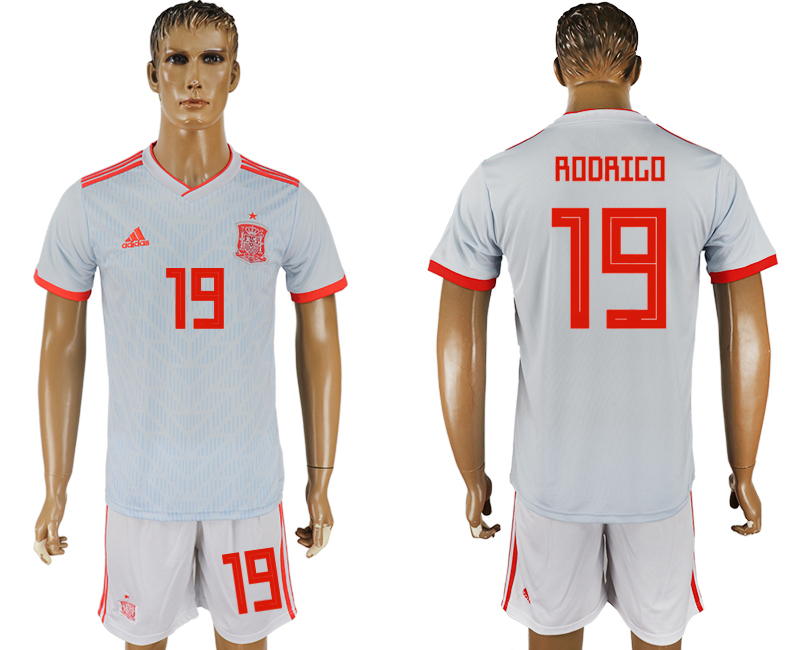 Men 2018 World Cup Spain away 19 white soccer jersey