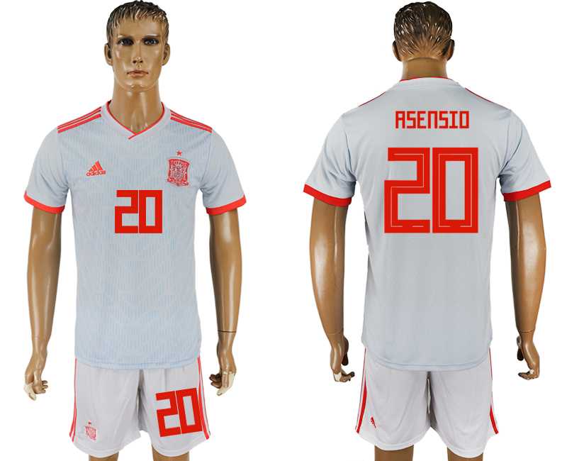 Men 2018 World Cup Spain away 20 white soccer jersey