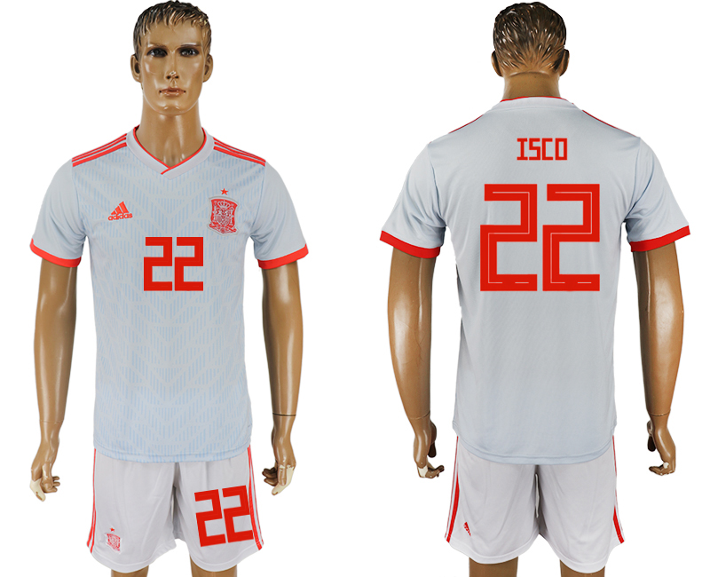 Men 2018 World Cup Spain away 22 white soccer jersey