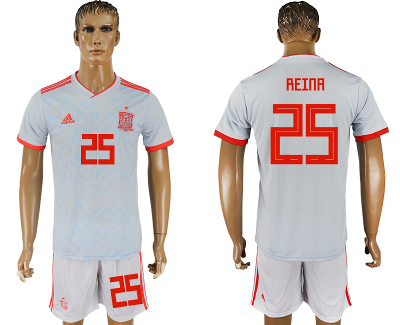 Men 2018 World Cup Spain away 25 white soccer jersey