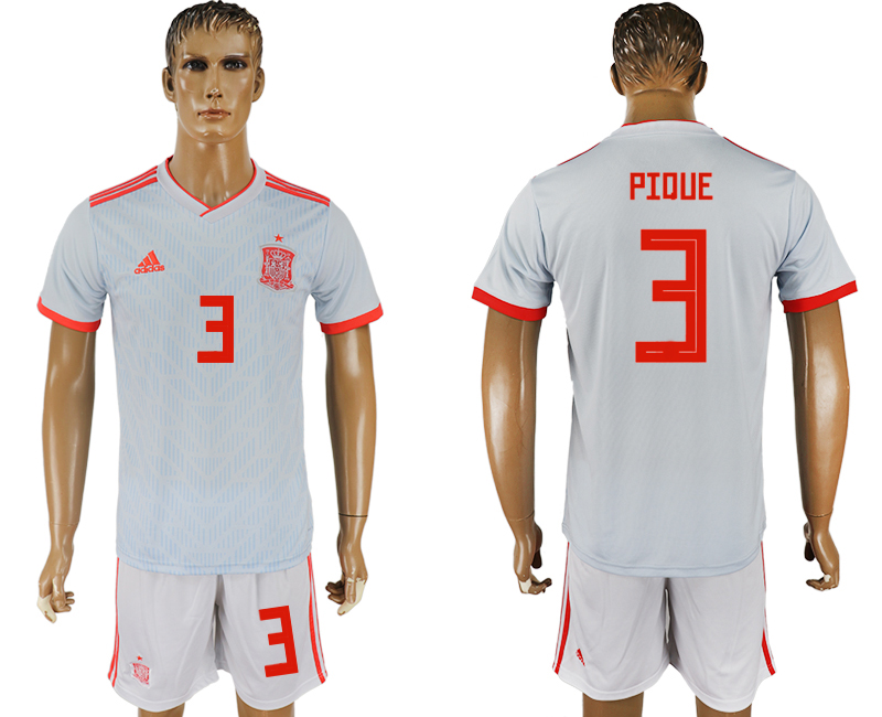 Men 2018 World Cup Spain away 3 white soccer jersey