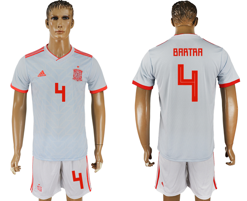 Men 2018 World Cup Spain away 4 white soccer jersey