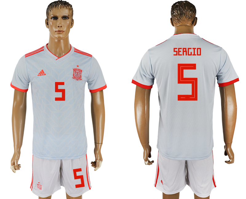 Men 2018 World Cup Spain away 5 white soccer jersey