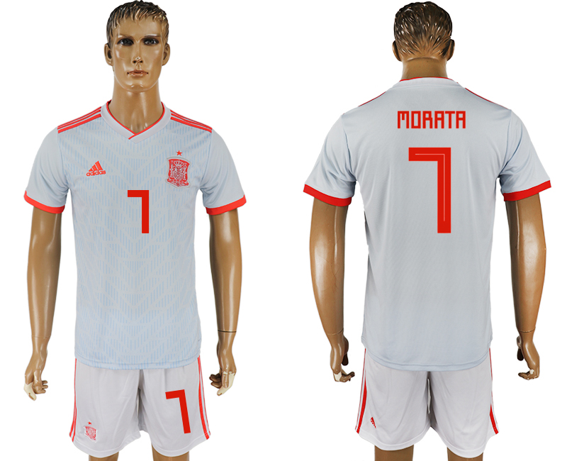 Men 2018 World Cup Spain away 7 white soccer jersey
