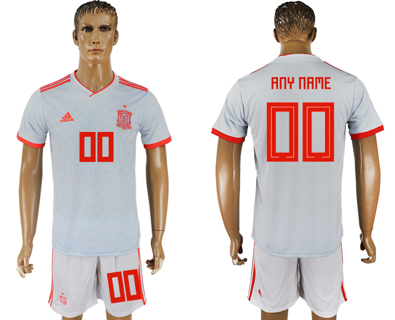 Men 2018 World Cup Spain away any name white soccer jersey