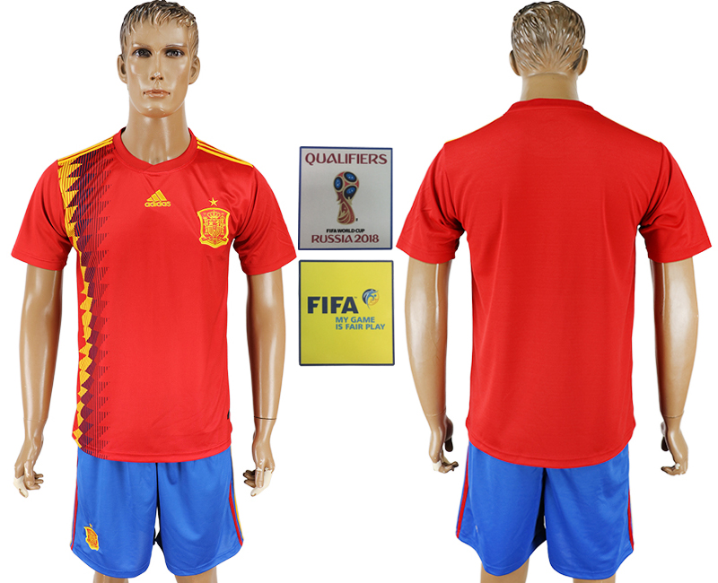Men 2018 World Cup Spain home white soccer jersey