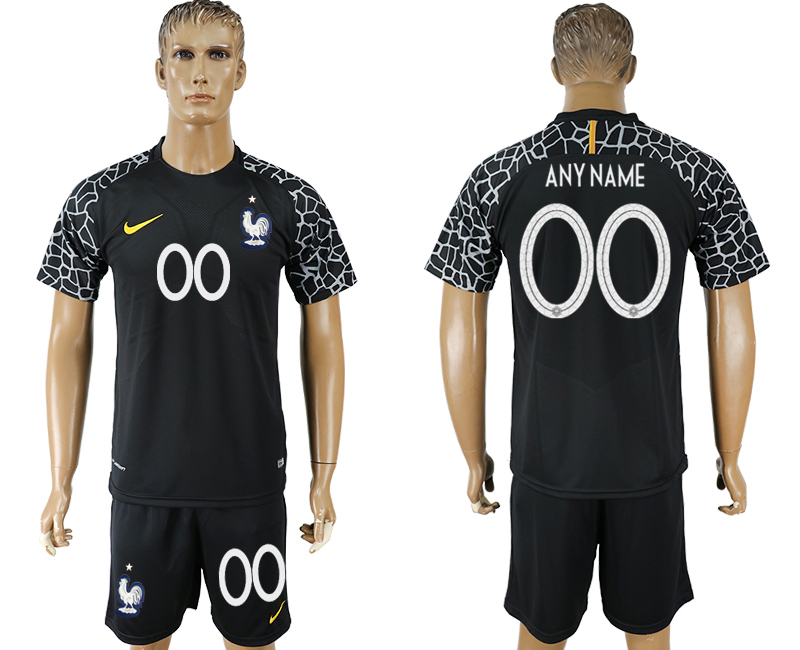 Men 2018 World Cup franch black goalkeeper customized soccer jersey