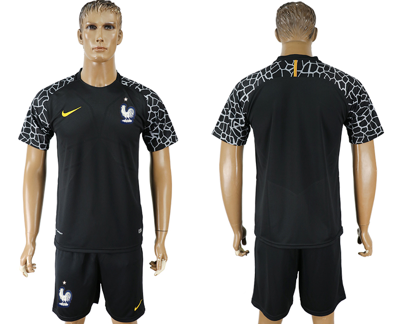 Men 2018 World Cup franch black goalkeeper soccer jersey