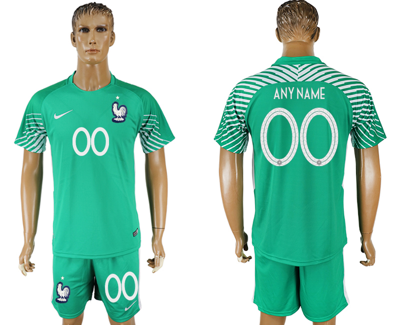 Men 2018 World Cup franch green goalkeeper customized soccer jersey