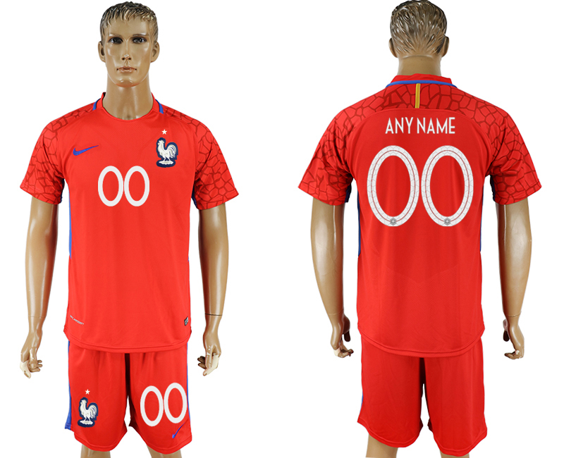 Men 2018 World Cup franch red goalkeeper customized soccer jersey