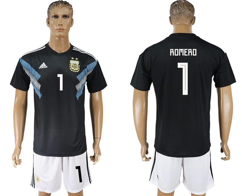 Men 2018 World cup Argentina away 1 black soccer jersey