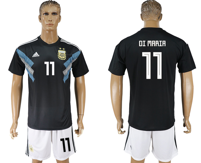 Men 2018 World cup Argentina away 11 black soccer jersey