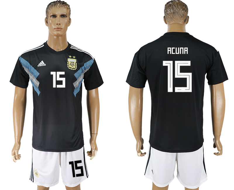 Men 2018 World cup Argentina away 15 black soccer jersey