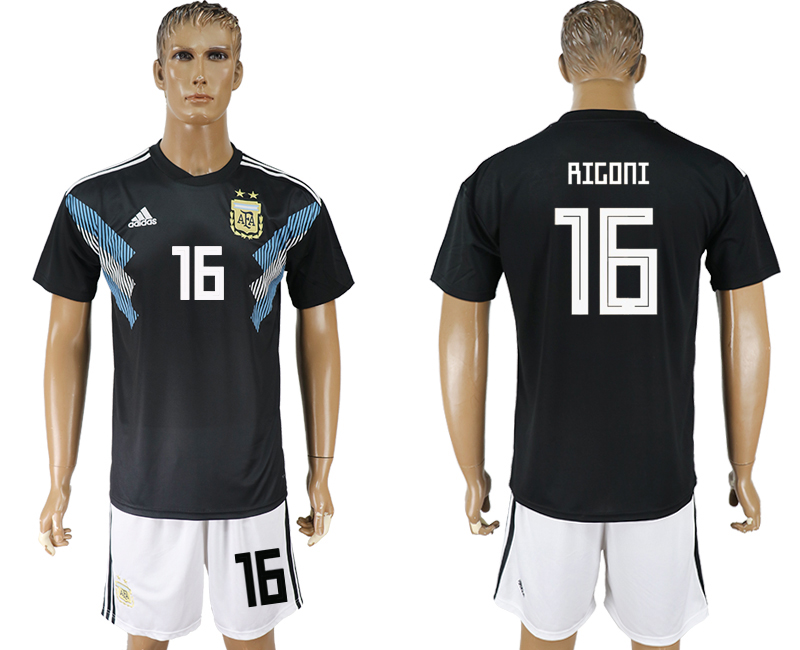 Men 2018 World cup Argentina away 16 black soccer jersey