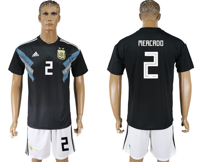 Men 2018 World cup Argentina away 2 black soccer jersey