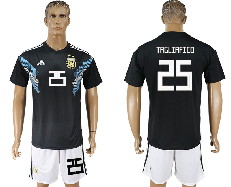 Men 2018 World cup Argentina away 25 black soccer jersey