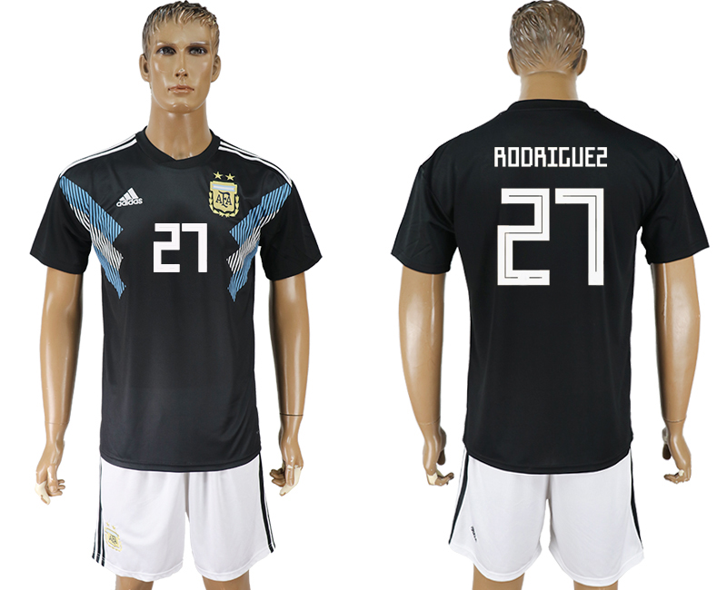 Men 2018 World cup Argentina away 27 black soccer jersey
