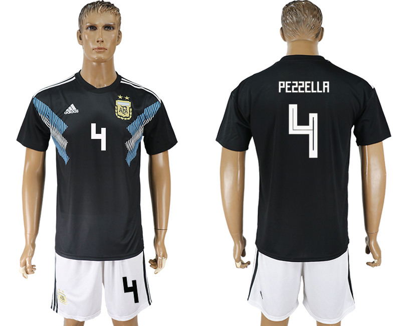 Men 2018 World cup Argentina away 4 black soccer jersey