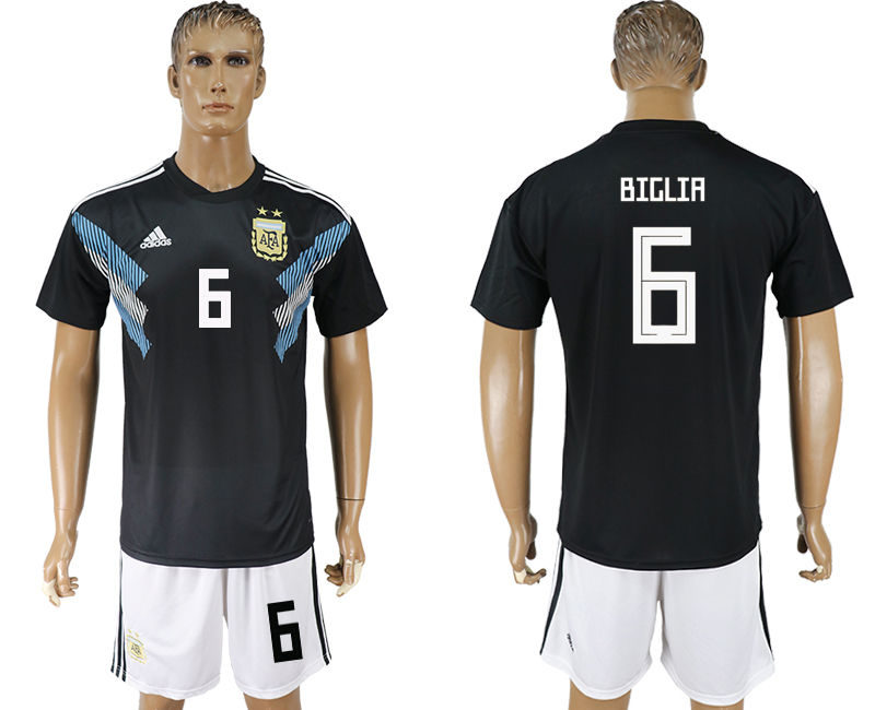 Men 2018 World cup Argentina away 6 black soccer jersey