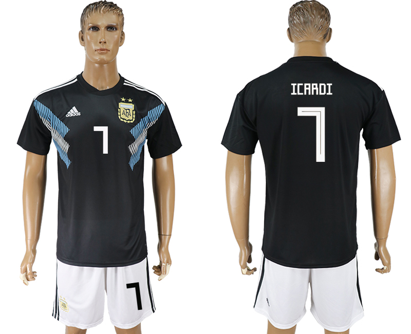 Men 2018 World cup Argentina away 7 black soccer jerseys