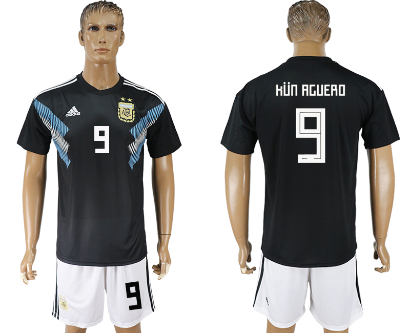 Men 2018 World cup Argentina away 9 black soccer jerseys