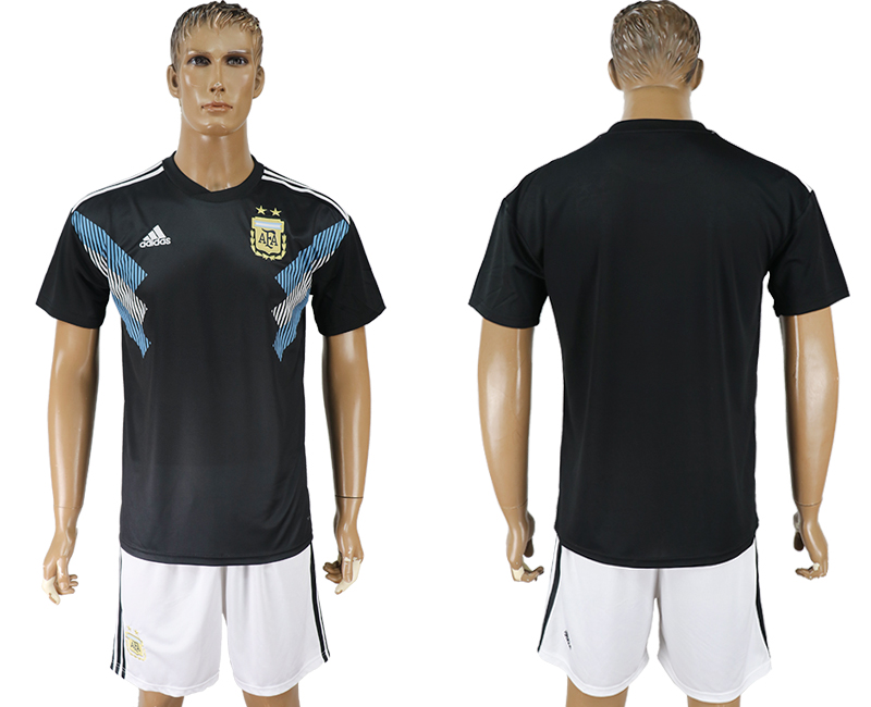 Men 2018 World cup Argentina away black soccer jersey