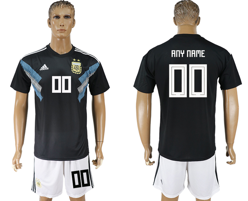 Men 2018 World cup Argentina away customized black soccer jersey