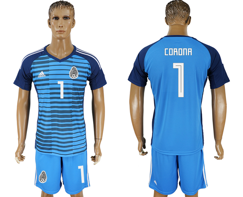 Men 2018 World cup Mexico Lake blue goalkeeper 1 soccer jersey