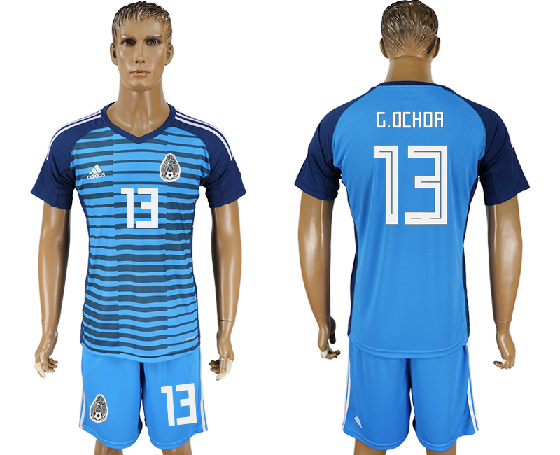 Men 2018 World cup Mexico Lake blue goalkeeper 13 soccer jersey