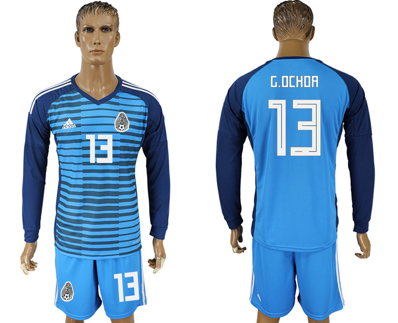 Men 2018 world cup Mexico Lake blue goalkeeper long sleeve 13 Soccer jerseys