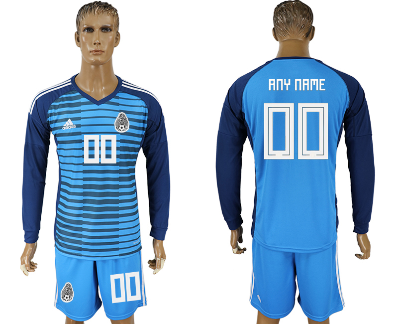 Men 2018 world cup Mexico Lake blue goalkeeper long sleeve customized Soccer jerseys