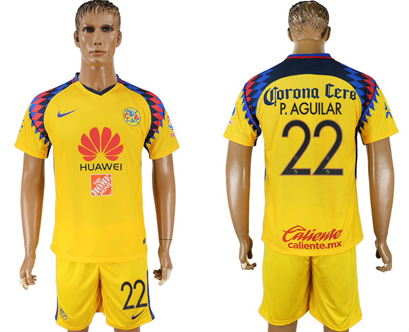 Men 2018-2019 club America away 22 yellow soccer jersey