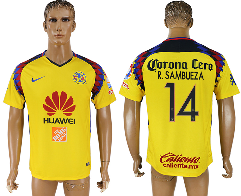 Men 2018-2019 club Club America away aaa version 14 yellow soccer jersey