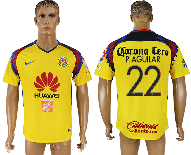 Men 2018-2019 club Club America away aaa version 22 yellow soccer jersey