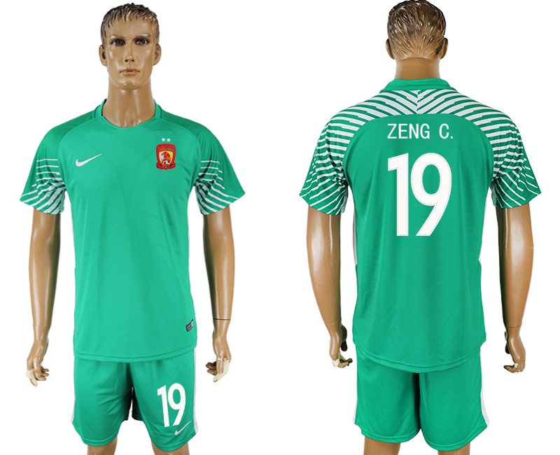 Men 2018-2019 club Guangzhou Evergrande Taobao green goalkeeper 19 soccer jersey