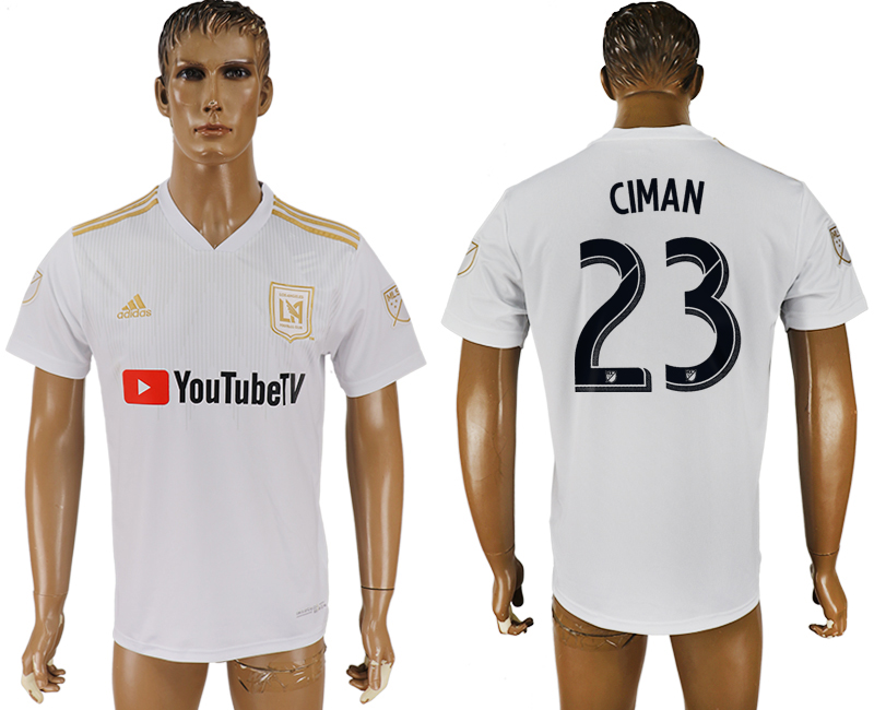 Men 2018-2019 club Los Angeles FC away aaa version 23 white soccer jersey