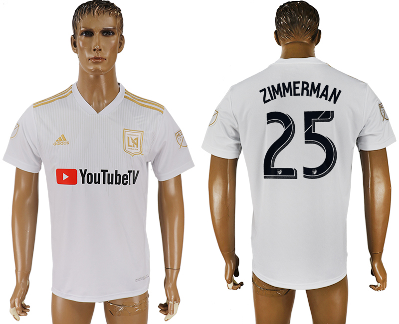 Men 2018-2019 club Los Angeles FC away aaa version 25 white soccer jersey