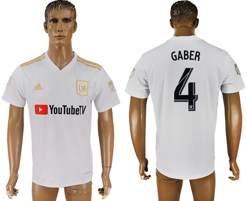 Men 2018-2019 club Los Angeles FC away aaa version 4 white soccer jersey