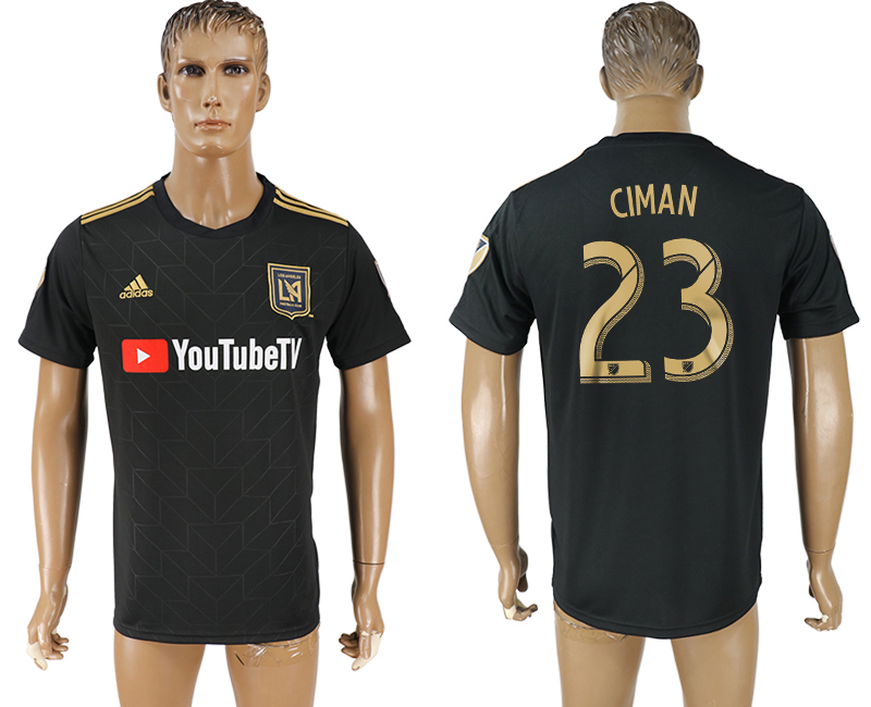 Men 2018-2019 club Los Angeles FC home aaa version 23 black soccer jersey