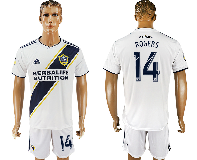 Men 2018-2019 club Los Angeles Galaxy home 14 white soccer jersey
